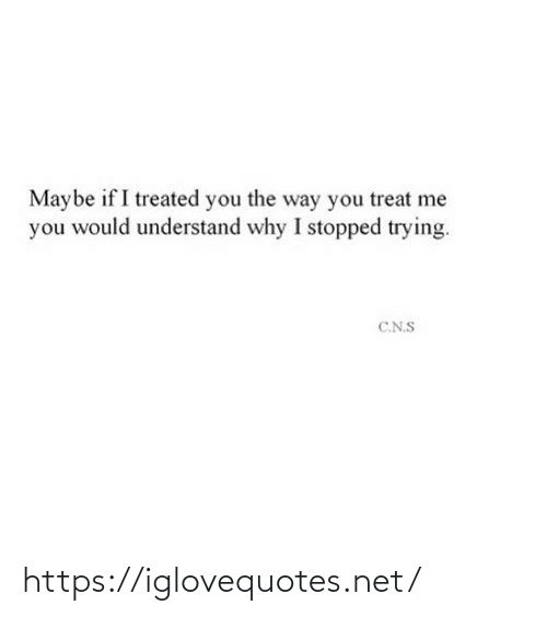Treated: Maybe if I treated you the way you treat me  you would understand why I stopped trying.  C.N.S https://iglovequotes.net/