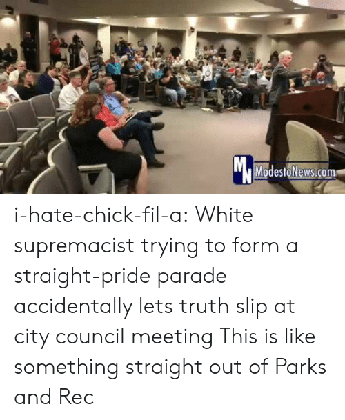 Council: Mc  ModestoNews.com i-hate-chick-fil-a:   White supremacist trying to form a straight-pride parade accidentally lets truth slip at city council meeting   This is like something straight out of Parks and Rec