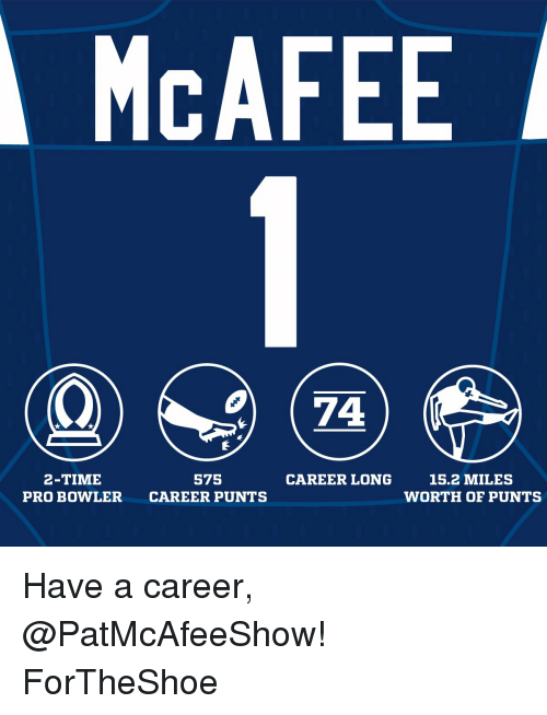 mcafee: MCAFEE  2-TIME  575  CAREER LONG  15.2 MILES  PRO BOWLER  CAREER PUNTS  WORTH OF PUNTS Have a career, @PatMcAfeeShow! ForTheShoe
