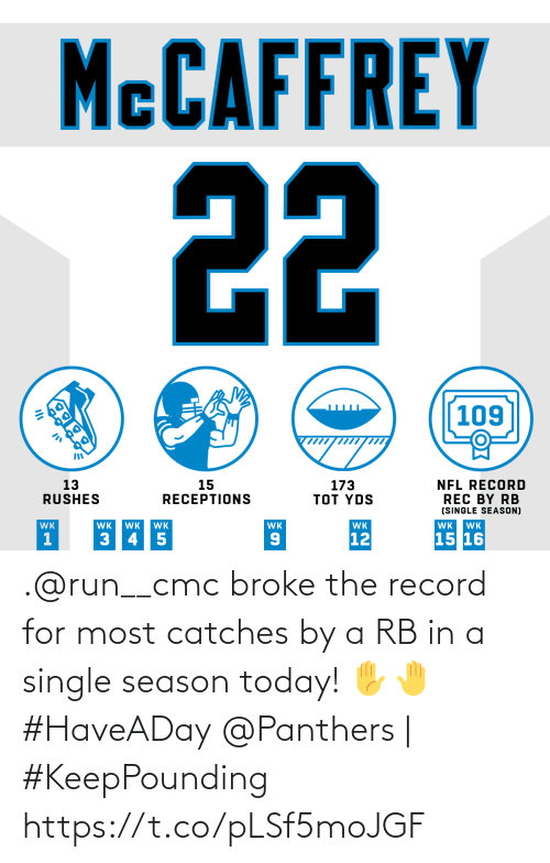 rec: MCCAFFREY  22  109  13  RUSHES  173  TOT YDS  15  RECEPTIONS  NFL RECORD  REC BY RB  (SINGLE SEASON)  WK  WK  WK  WK  WK  WK  WK  WK  15 16  12  3 45  OK .@run__cmc broke the record for most catches by a RB in a single season today! ✋🤚 #HaveADay  @Panthers | #KeepPounding https://t.co/pLSf5moJGF