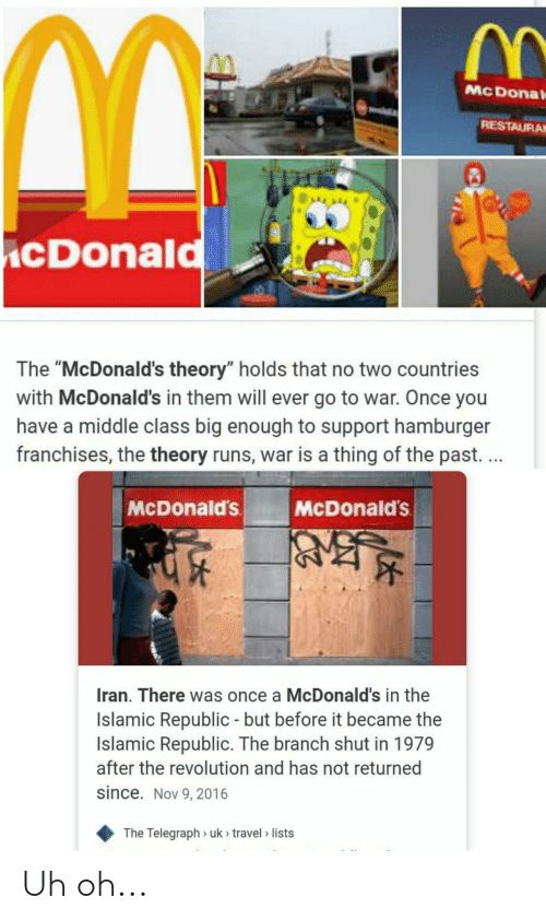 """Telegraph: McDonal  RESTAURAM  cDonald  The """"McDonald's theory"""" holds that no two countries  with McDonald's in them will ever go to war. Once you  have a middle class big enough to support hamburger  franchises, the theory runs, war is a thing of the past. ...  McDonald's  McDonald's  Iran. There was once a McDonald's in the  Islamic Republic - but before it became the  Islamic Republic. The branch shut in 1979  after the revolution and has not returned  since. Nov 9, 2016  The Telegraph > uk > travel > lists Uh oh..."""