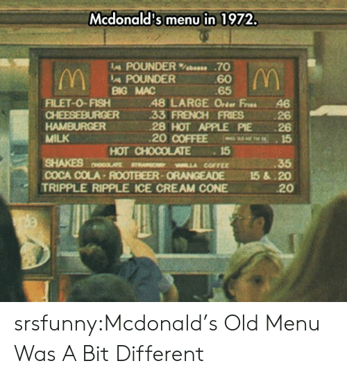 Apple Pie: Mcdonald's menu in 1972.  IA POUNDER%bees. .70  60  65  POUNDER  BG MAC  FILET-0-FISH48 LARGE Orter Fres 46  33 FRENCH FRIES 26  28 HOT APPLE PIE 26  20 COFFEE 15  HAMBURGER  MILK  SHAKES MLLA COFFEE  TRIPPLE RIPPLE ICE CREAM CONE  HOT CHOCOLATE15  35  COCA COLA-ROOTBEER-ORANGEADE 15&.20  20 srsfunny:Mcdonald's Old Menu Was A Bit Different