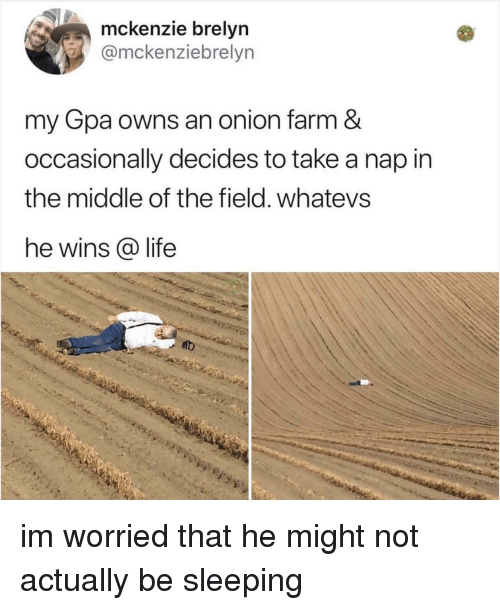 Whatevs: mckenzie brelyn  @mckenziebrelyn  my Gpa owns an onion farm &  occasionally decides to take a nap in  the middle of the field. whatevs  he wins @ life im worried that he might not actually be sleeping
