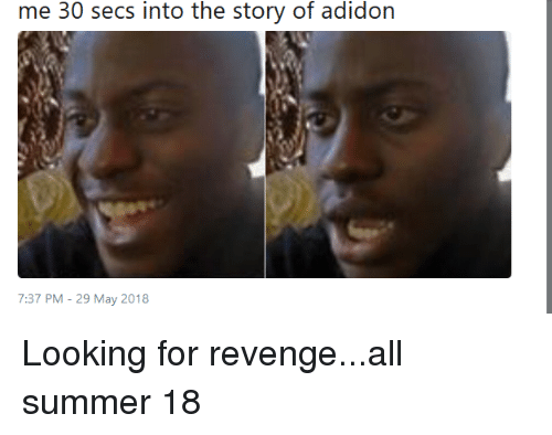 Blackpeopletwitter, Funny, and Revenge: me 30 secs into the story of adidon  7:37 PM - 29 May 2018 Looking for revenge...all summer 18
