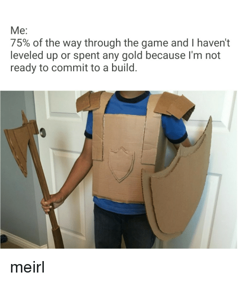 Im Not Ready: Me:  75% of the way through the game and I haven't  leveled up or spent any gold because I'm not  ready to commit to a build. meirl