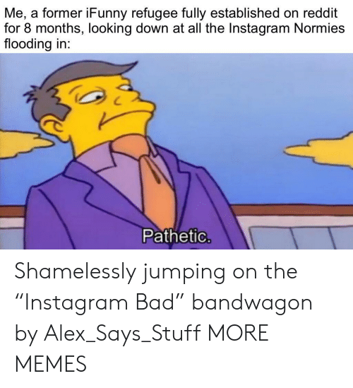 "Bad, Dank, and Instagram: Me, a former iFunny refugee fully established on reddit  for 8 months, looking down at all the Instagram Normies  flooding in:  Pathetic. Shamelessly jumping on the ""Instagram Bad"" bandwagon by Alex_Says_Stuff MORE MEMES"