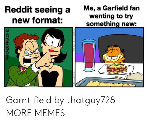 facebook.com: Me, a Garfield fan  wanting to try  something new:  Reddit seeing a  new format:  VAPORBERAY 23-10  2019 facebook.com/vaporberry Garnt field by thatguy728 MORE MEMES
