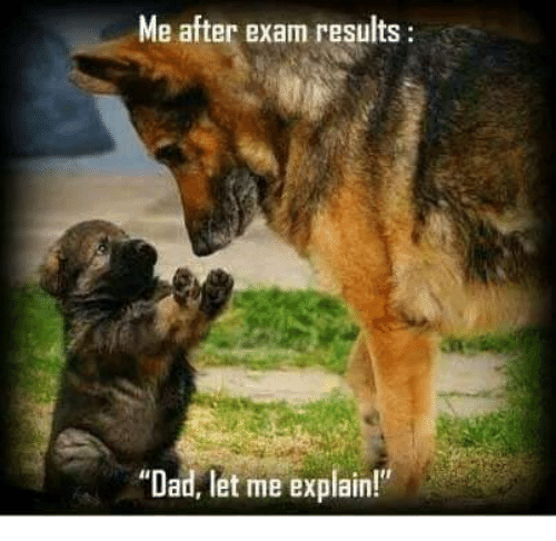 """Dad, Funny, and Let Me: Me after exam results  """"Dad, let me explain!"""