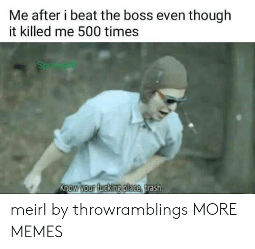 Dank, Fucking, and Memes: Me after i beat the boss even though  it killed me 500 times  Sp  Know your fucking place trash meirl by throwramblings MORE MEMES