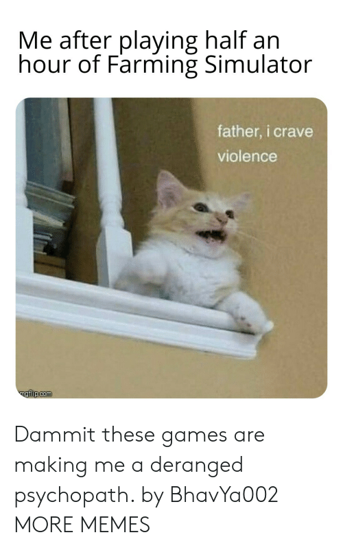 Dammit: Me after playing half an  hour of Farming Simulator  father, i crave  violence  ngiip.com Dammit these games are making me a deranged psychopath. by BhavYa002 MORE MEMES