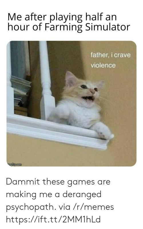 Dammit: Me after playing half an  hour of Farming Simulator  father, i crave  violence  ngiip.com Dammit these games are making me a deranged psychopath. via /r/memes https://ift.tt/2MM1hLd