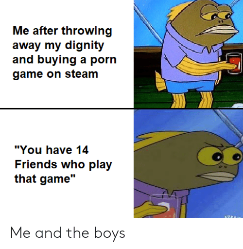 "Friends, Steam, and Game: Me after throwing  away my dignity  and buying a porn  game on steam  ""You have 14  Friends who play  that game"" Me and the boys"