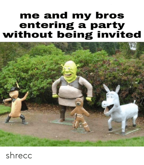 Invited, Bros, and And: me and my bros  entering a partv  without being invited shrecc