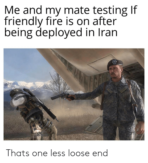 mate: Me and my mate testing If  friendly fire is on after  being deployed in Iran  USARM Thats one less loose end
