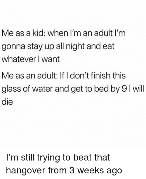 hangover: Me as a kid: when I'm an adult I'm  gonna stay up all night and eat  whatever I want  Me as an adult: If I don't finish this  glass of water and get to bed by 9 I will  die I'm still trying to beat that hangover from 3 weeks ago