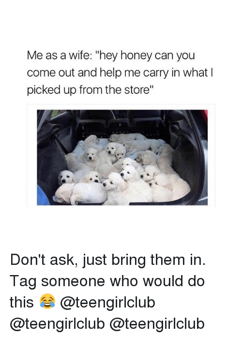 "Girl, Help, and Tag Someone: Me as a wife: ""hey honey can you  come out and help me carry in what l  picked up from the store"" Don't ask, just bring them in. Tag someone who would do this 😂 @teengirlclub @teengirlclub @teengirlclub"