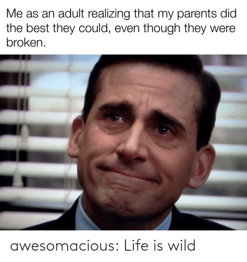 broken: Me as an adult realizing that my parents did  the best they could, even though they were  broken. awesomacious:  Life is wild