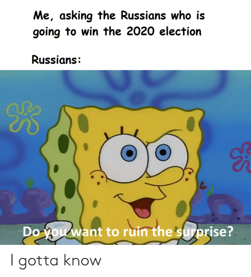 russians: Me, asking the Russians who is  going to win the 2020 election  Russians:  B  Do you want to ruin the surprise? I gotta know