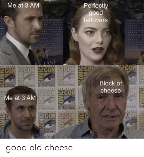 block: Me at 3 AM  Perfectly  good  leftovers  SAU  MALTICEIEET  WUS.  ...  SPLDLMENTY  LAND  CON CON SCON  REEKECIN N ES  CON  Block of  EIMTYNOLUVKEBIN  CON CON  cheese  Me at 3 AM  DIMTWOUTNEBIN TNOLUTNELIN  SCON CON  CON  MICE COMIC ECOMIC  MIGE ECOMICE COMIC good old cheese