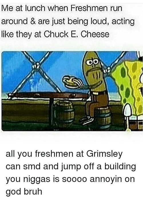 You Nigga: Me at lunch when Freshmen run  around & are just being loud, acting  like they at Chuck E. Cheese  OO all you freshmen at Grimsley can smd and jump off a building you niggas is soooo annoyin on god bruh