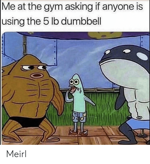 Gym, MeIRL, and Asking: |Me at the gym asking if anyone is  using the 5 lb dumbbell Meirl
