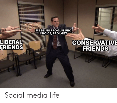 liberal: ME BEING PRO GUN, PRO  CHOICE, PRO LGBT  LIBERAL  FRIENDS  CONSERVATIVE  FRIENDS Social media life
