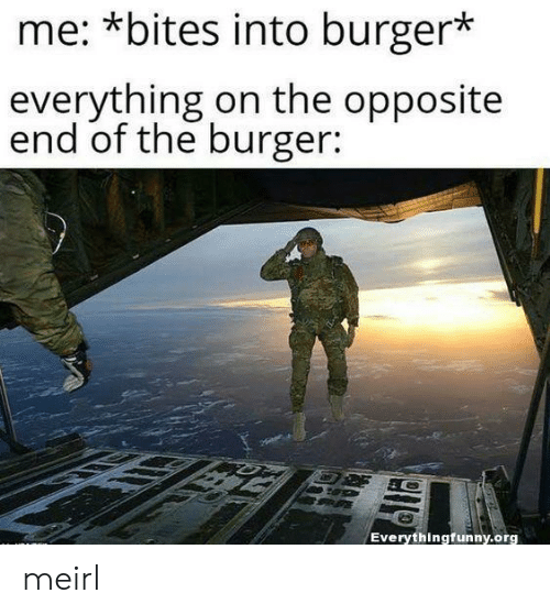 Opposite: me: *bites into burger*  everything on the opposite  end of the burger:  Everythingfunny.org meirl