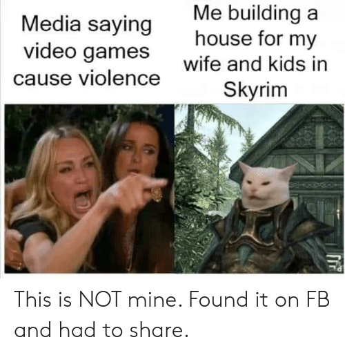 Not Mine: Me building a  house for my  Media saying  video games  wife and kids in  cause violence  Skyrim This is NOT mine. Found it on FB and had to share.