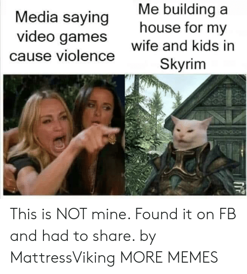 Not Mine: Me building a  house for my  Media saying  video games  wife and kids in  cause violence  Skyrim This is NOT mine. Found it on FB and had to share. by MattressViking MORE MEMES