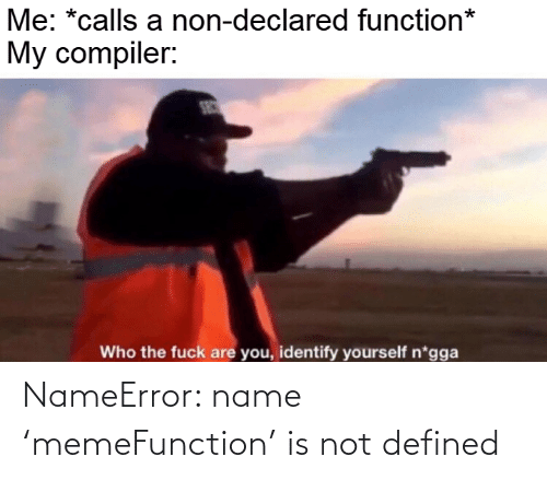 Identify: Me: *calls a non-declared function*  My compiler:  SEC  Who the fuck are you, identify yourself n*gga NameError: name 'memeFunction' is not defined
