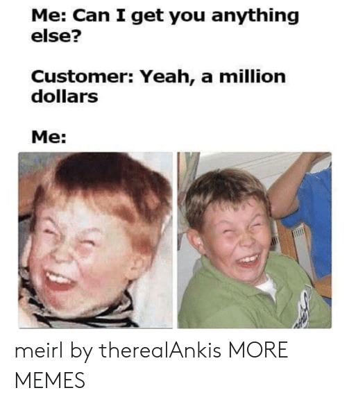 Dank, Memes, and Target: Me: Can I get you anything  else?  Customer: Yeah, a million  dollarS  Me: meirl by therealAnkis MORE MEMES