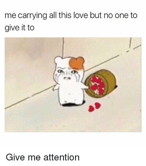 Give Me Attention: me carrying all this love but no one to  give it to Give me attention