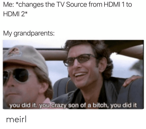 hdmi: Me: *changes the TV Source from HDMI 1 to  HDMI 2*  My grandparents:  you did it. you crazy son of a bitch, you did it meirl