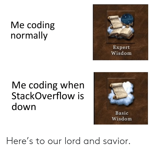 Wisdom, Stackoverflow, and Down: Me coding  normally  Expert  Wisdom  Me coding when  StackOverflow is  down  Basic  Wisdom Here's to our lord and savior.