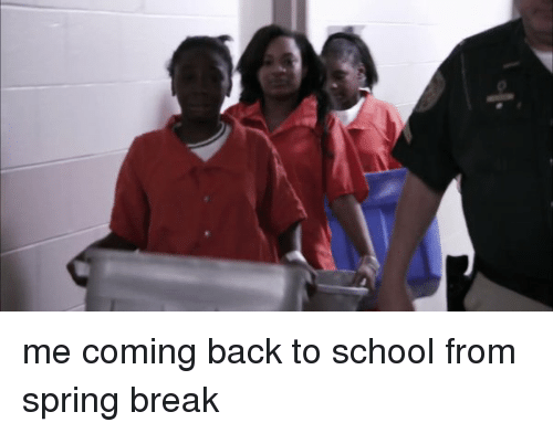 Me Coming Back To School From Spring Break Funny Meme On