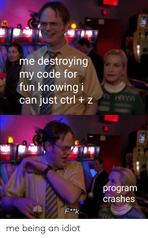 Idiot, Fun, and Code: me destroying  my code for  fun knowing i  can just ctrl + z  program  crashes  F**k me being an idiot