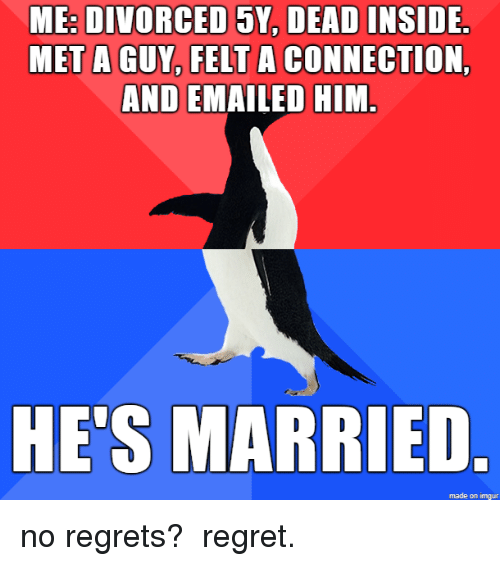 no regrets: ME: DIVORCED 5Y, DEAD INSIDE  MET A GUY, FELT A CONNECTION,  AND EMAILED HIM.  HE'S MARRIED  made on imgur no regrets? regret.