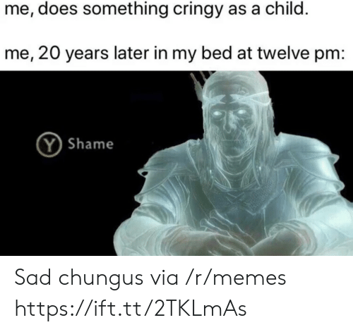 Memes, Sad, and Shame: me, does something cringy as a child.  me, 20 years later in my bed at twelve pm:  Y Shame Sad chungus via /r/memes https://ift.tt/2TKLmAs