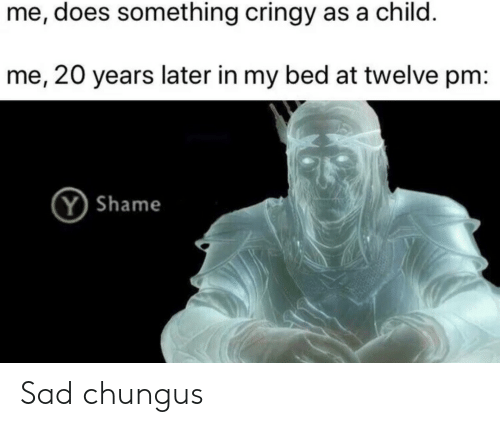 Sad, Shame, and Child: me, does something cringy as a child.  me, 20 years later in my bed at twelve pm:  Y Shame Sad chungus