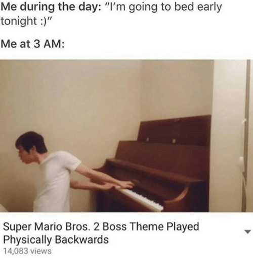 """Super Mario Bros: Me during the day: """"I'm going to bed early  tonight :)""""  Me at 3 AM:  Super Mario Bros. 2 Boss Theme Played  Physically Backwards  4,083 views"""