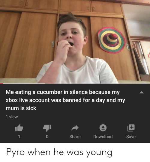 Xbox Live, Xbox, and Live: Me eating a cu cumber in silence because my  xbox live account was banned for a day and my  mum is sick  1 view  Share  Download  Save  0 Pyro when he was young