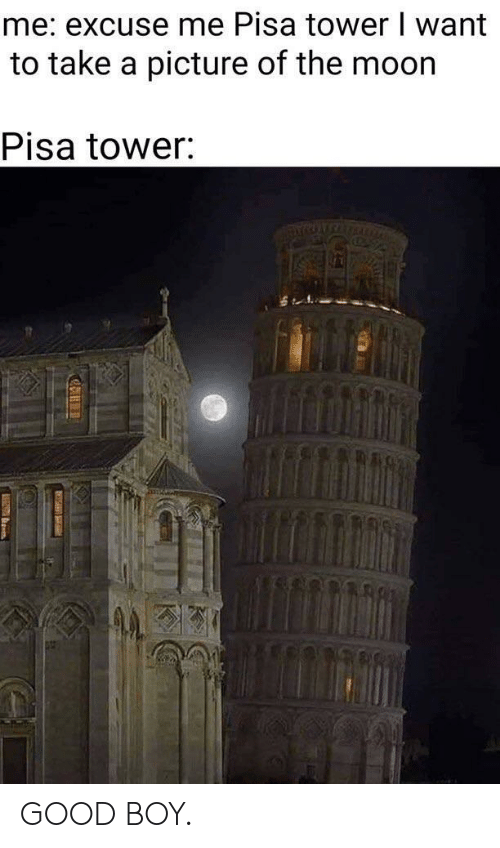 Good, A Picture, and Boy: me: excuse me Pisa tower I want  to take a picture of the moor  Pisa tower GOOD BOY.