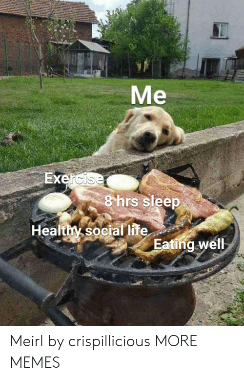 Dank, Life, and Memes: Me  Exercise  8 hrs sleep  Healthy social life  Eating well Meirl by crispillicious MORE MEMES