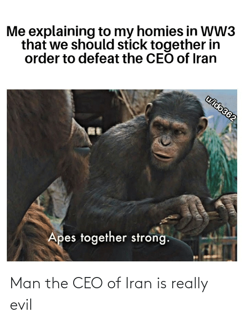 Stick Together: Me explaining to my homies in WW3  that we should stick together in  order to defeat the CEO of Iran  u/ido362  Apes together strong. Man the CEO of Iran is really evil