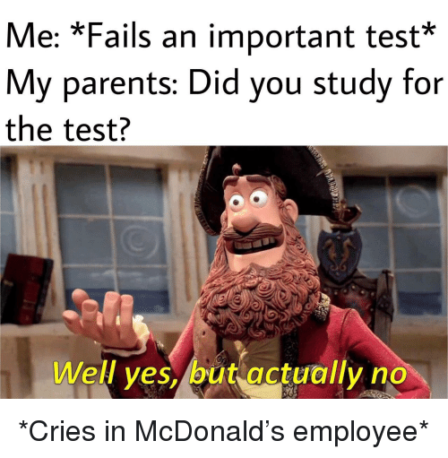 Parents, Test, and McDonald: Me: *Fails an important test*  My parents: Did you study for  the test?  Well ves, but actually no *Cries in McDonald's employee*