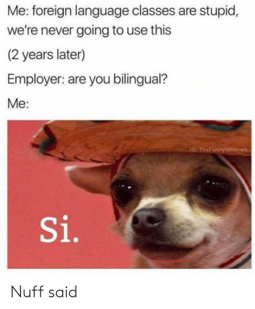 nuff said: Me: foreign language classes are stupid,  we're never going to use this  (2 years later)  Employer: are you bilingual?  Me:  IG: TheFunnylatrovert  Si. Nuff said