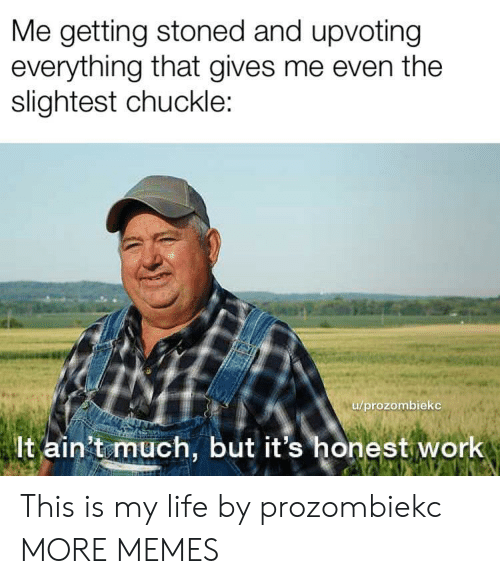 Dank, Life, and Memes: Me getting stoned and upvoting  everything that gives me even the  slightest chuckle  /prozombieko  lt ain't much, but it's honest work This is my life by prozombiekc MORE MEMES