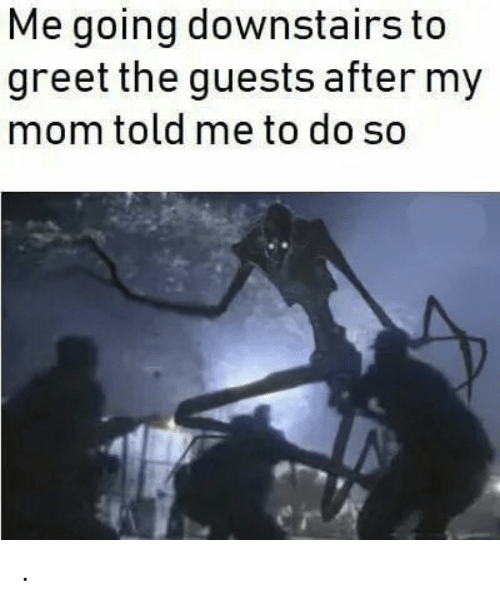 Greet: Me going downstairs to  greet the guests after my  mom told me to do so .