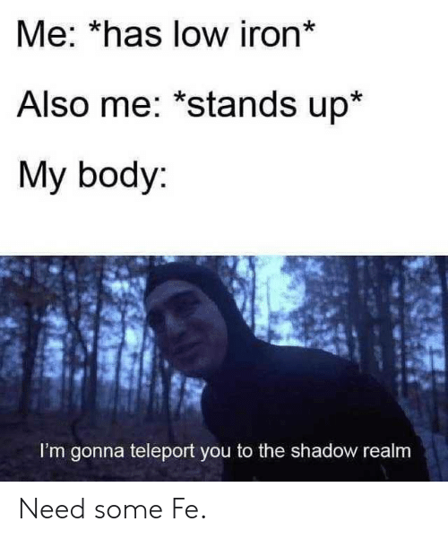 The Shadow: Me: *has low iron*  Also me: *stands up*  My body:  I'm gonna teleport you to the shadow realm Need some Fe.