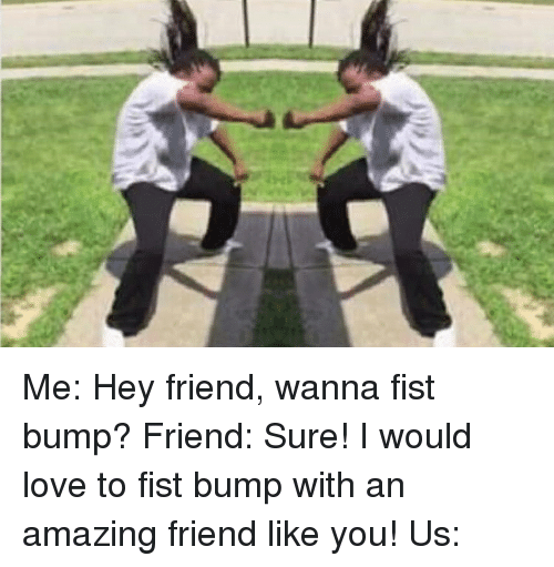 Memes, 🤖, and Bump: Me: Hey friend, wanna fist bump? Friend: Sure! I would love to fist bump with an amazing friend like you! Us: